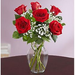 Love's Embrace Red Roses 6 Stem Bouquet