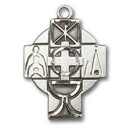 First Communion Sterling Silver Medal Cross