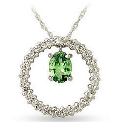 14kt White Gold Diamond and Peridot Drop Circle Pendant