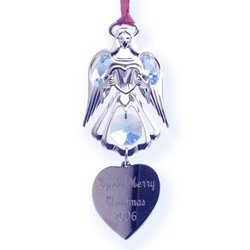 Personalized Crystal Angel Ornament with Heart Charm