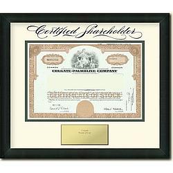 Framed Colgate Palmolive Stock Certificate