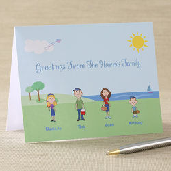 Personalized Cartoon Family Note Cards