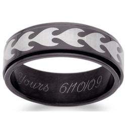 Men's Blackened Stainless Steel Tribal Spinner Engraved Band