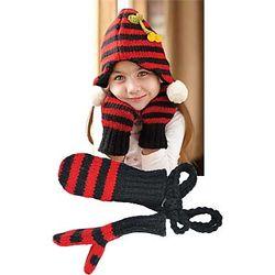 Kid's Striped Wool Mittens