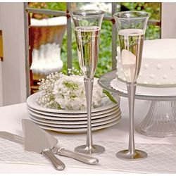 Brushed Rhinestone Flutes and Serving Set