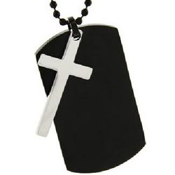 Engravable Black Stainless Steel Dog Tag and Cross