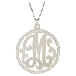 Sterling Silver Round Single Initial Monogram Necklace
