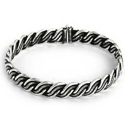 Oxidized Braided Bali Bangle Bracelet