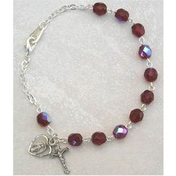 Adult Sterling Silver and Garnet Rosary Bracelet