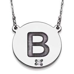 Sterling Silver Initial Diamond Disc Necklace