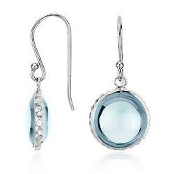 Blue Topaz Cabochon Earrings in Sterling Silver