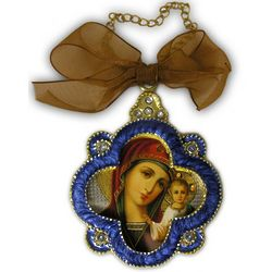 Virgin Mary Cross Framed Icon Ornament