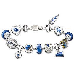 Kentucky Wildcats #1 Fan Charm Bracelet with Swarovski Crystals