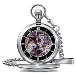 Wolf Art Pocket Watch with Etched Sentiment