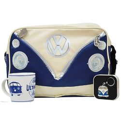 VW Blue Shoulder Bag with Blue Key Ring and Coffee Mug