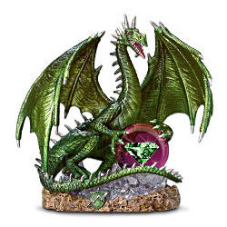 Guardian of the Lightning's Fury Green Dragon Figurine