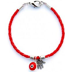 Hamsa & Evil Eye Red Leather Bracelet