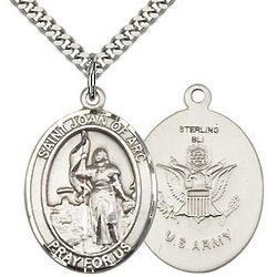 St. Joan of Arc Pendant with US Army Insignia and Chain