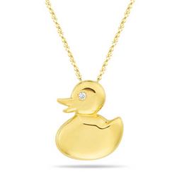 Diamond Duck Pendant in 14K Yellow Gold