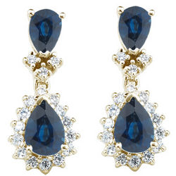 Sapphire & Diamond Earrings in 14K Gold