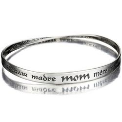 Sterling Silver Mom Bracelet Written in Many Languages