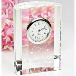 Forever in Love Personalized Crystal Clock