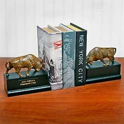 Wall Street Charging Bull Brass Bookends