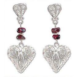 Passionate Heart Garnet Filigree Earrings