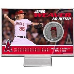 "Jered Weaver ""No Hitter"" 2012 Silver Coin Card"