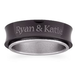 Couple's Two-Tone Titanium Spinner Band
