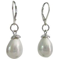 White Freshwater Drop Pearls Sterling Silver Leverback Earrings