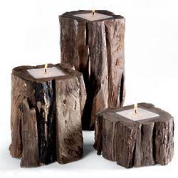 Teak Candle Set