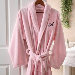 Women's Pink Microfleece Personalized Spa Robe