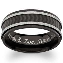 Black Stainless Steel Textured Engraved Flat Band
