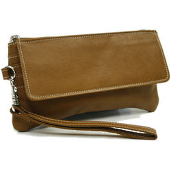 Personalized Leather Flap-Over Wristlet
