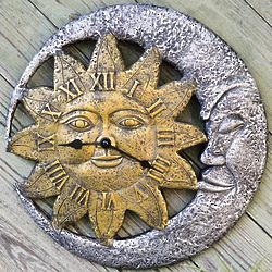 Sun and Moon Face Outdoor Clock
