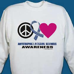 Peace Hope Love ALS Awareness Sweatshirt