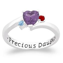 "Sterling Silver ""My Precious Daughter"" Birthstone Heart Ring"