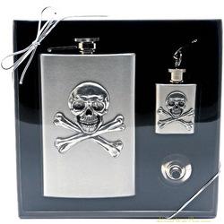 Skull and Crossbones Flask Gift Set