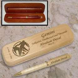 Personalized Gemini Zodiac Wooden Pen & Case Set