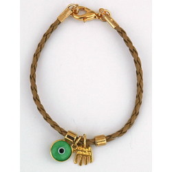 Hamsa & Evil Eye Beige Leather Bracelet