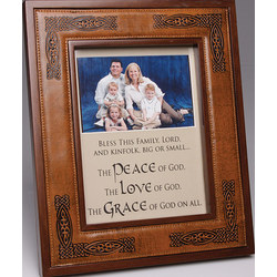 Celtic Embossed Leather And Wood Frame