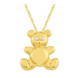 Diamond Teddy Pendant in 14K Yellow Gold