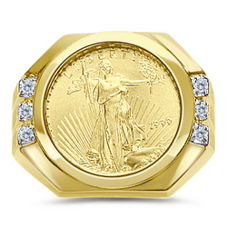 Gold Eagle Coin Mens Diamond Ring Findgift Com