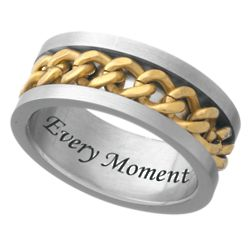Mens Stainless Steel Engraved Two-tone Curb Link Band