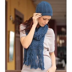 Periwinkle Blue Alpaca Wool Scarf and Hat Set