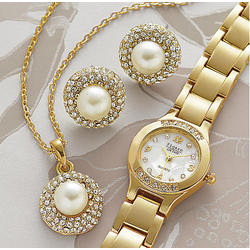 Faux Pearl & Crystal Watch, Pendant & Earring Set
