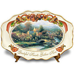 Grateful Hearts Gather Here Lamplight Village Platter
