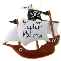 Personalized Kids Pirate Ship Ornament