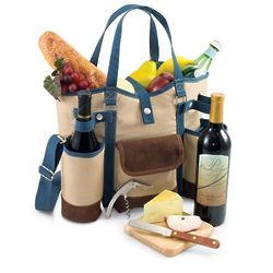 Insulated Two Bottle Wine Tote with Cheese Service